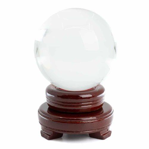 Feng Shui Kristallen Bol met Houten Voet (80 mm)
