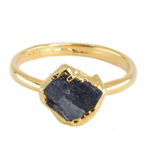 Geboortesteen Ring Ruwe Tanzaniet December - 925 Zilver