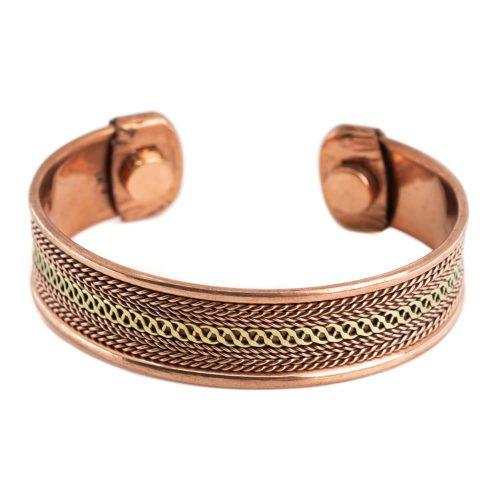 "Koperen Magneet Armband ""Grid Alternative"""