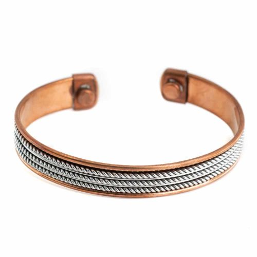 "Koperen Magneet Armband ""Silver Grid"""