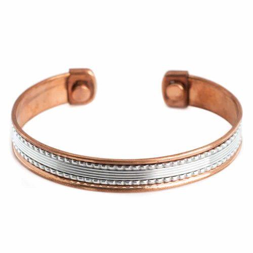 "Koperen Magneet Armband ""Silver Grid Alternative"""