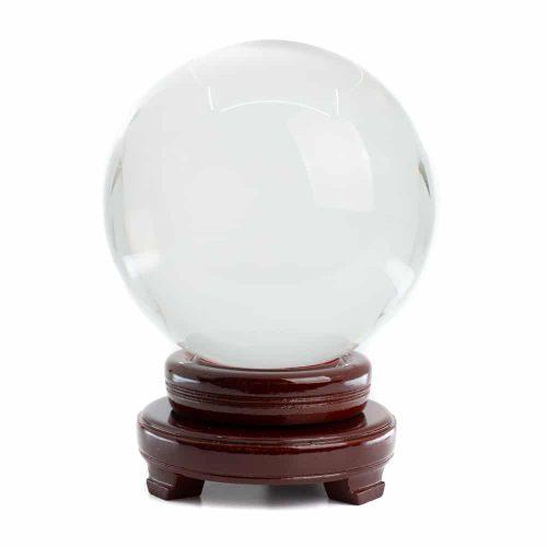 Feng Shui Kristallen Bol met Houten Voet (150 mm)