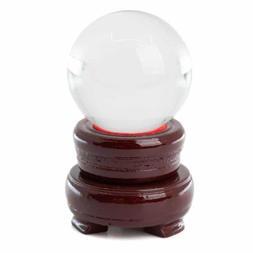 Feng Shui Kristallen Bol met Houten Voet (50 mm)