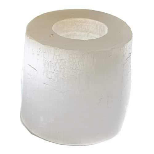 Waxinelichthouder Edelsteen Seleniet Cilinder ca 900 gram (8 x 8 cm)