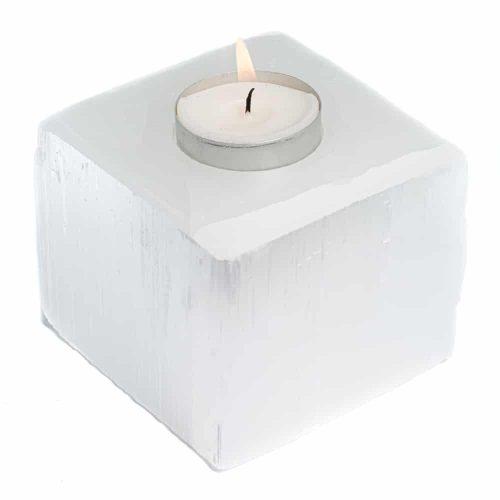 Waxinelichthouder Edelsteen Seleniet Kubus ca 1100 gram (8 x 8 cm)