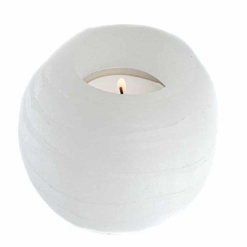 Waxinelichthouder Edelsteen Seleniet Rond ca 500 gram (8 x 8 cm)